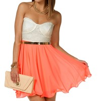 Ivory/Neon Coral Crochet Babydoll Dress