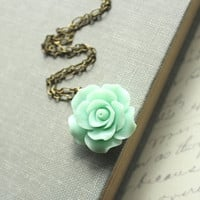 Mint Rose Necklace Seafoam Green Flower Pendant by apocketofposies