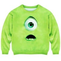 Romwe Women's Green Monsyter Eye Pattern Design Polyester Sweatshirt