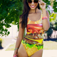 Hamburger One-piece Swimsuit Love This Sunday