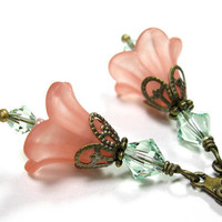 Peach and Chrysolite Flower Earrings, Gifts for Gardeners, Pastel, Soft, Floral Jewelry, Gifts for Mom, Pantone Spring, Two Tone Earrings