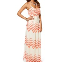 CoralIvory Chevron Maxi Dress