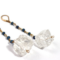 Rough Clear Quartz Gold Wire Earrings, Raw Crystal Quartz Earrings,Gold dangly Earrings, Sapphire Chain Earrings