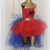 Sale, Adult tutu, Spiderman tutu,red and blue, comic con outfit, Halloween outfit ,cosplay, high low tutu, spiderman costume