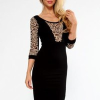 Black/Gold Lace Insert Midi Dress