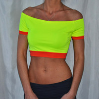 Cropped Neon Spandex Workout Top Tshirt Workout Top Fitness Cropped Top Tank Workout Neon Tank Workout Clothing Yoga Clothing Tank Tops