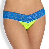 Hanky Panky Colorblock Lace Low-Rise Thong