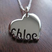 Silver Personalised Heart and Name Pendant by GorjessJewellery