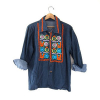 STOREWIDE SALE...vintage 60s denim jean shirt. embroidered hippie button down shirt.