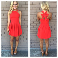 Red Cross Bow Back Dress