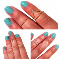 Set of 3 midi rings, 2 bands, 1 open triangle
