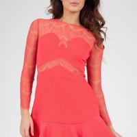 Red Lace Long Sleeve Fit and Flare Dress