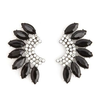Fanned Rhinestone & Gem Earrings