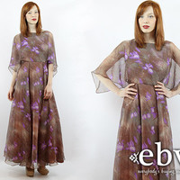 Vintage 70s Brown Floral Maxi Dress XS S Vintage Hippie Dress Hippy Dress Floral Dress Cape Dress Goddess Dress Boho Dress