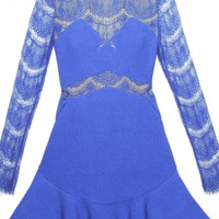 Blue Lace Long Sleeve Fit and Flare Dress