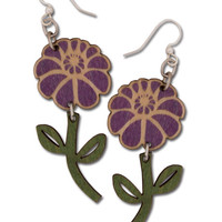 Wood Flower Earrings: Soul Flower Clothing