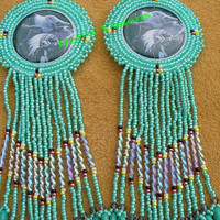 rosette beaded Chief with Howling Wolf earrings