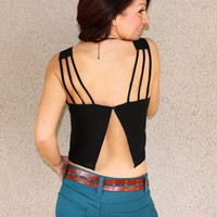 'Hermosa' Chiffon Crop Top (Black)