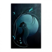 Sensual Cat in the Moonlight Wood Print
