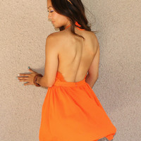 'Nightingale' Lace Detail Halter Dress (Orange)