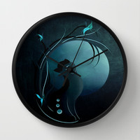 Sensual Cat in the Moonlight Wall Clock by LouJah | Society6