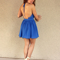 'Nightingale' Lace Detail Halter Dress (Blue)