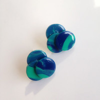 Unique Teal and Blue Stud Earrings {Polymer Clay}