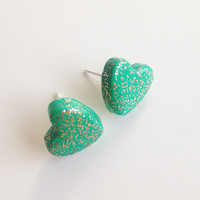 Teal and Gold Glitter Heart Stud Earrings {Polymer Clay}