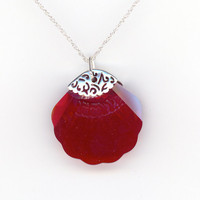 Red Seashell Pendant Swarovski Crystal Sterling Chain by Lehane