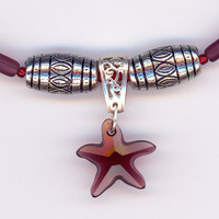 Swarovski Crystal Star Burgundy with Bead Necklace by Lehane