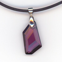 Amethyst Crystal Pendant Purple Violet Black Rubber Cord by Lehane