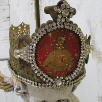 Metal statue crown handmade French Santos inspired with elaborate metal plate from France rhinestones art decor Anita Spero