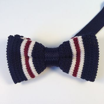 Navy Blue Striped Knit Bow Tie