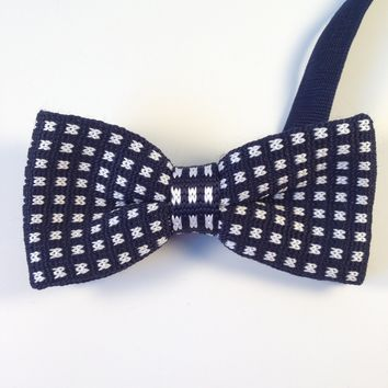 Navy Blue Dotted Knit Bow Tie