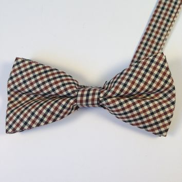 Black & Maroon Checkered Bow Tie