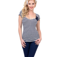 Blue & White Stripe Sea Siren Top