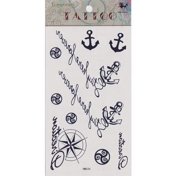 "MagicPieces Temporary Tattoo Fake Tattoo Waterproof Non-toxic Tattoo Sticker with Dark Blue Anchor, Helm and Some English Word Pattern Size 3.06""X5.13"""