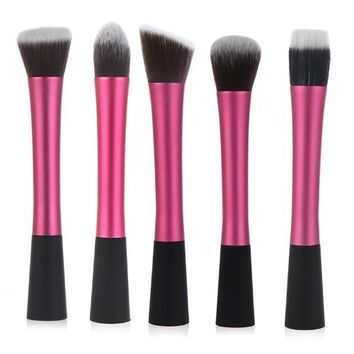 Docooler Professional Cosmetic Brush Face Make Up Set Blusher Powder Foundation Tool Kit 5pc in pack (Rose)