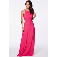 Missguided - Anthea Cut Out Split Maxi Dress In Fuchsia