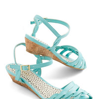 Better Plait than Never Sandal in Aqua | Mod Retro Vintage Sandals | ModCloth.com