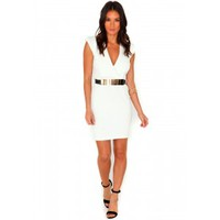 Missguided - Antonia Structured Cross Over Dress In White