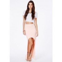 Missguided - Mariola Blush Curve Front Maxi Skirt