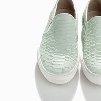 PRINTED LEATHER SLIP-ON WITH TRACK SOLE