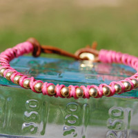 Bracelet Wrapped Chain Leather in Pink by authenticaboutique