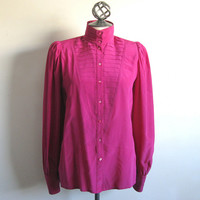 Escada 80s Silk Blouse Vintage Fuchsia Pleated High Neck Designer Top 38 US8