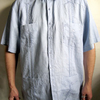 Ted Lapidus1980s Vintage Light Blue Button Down Short Sleeve Mens Shirt Size XXXL