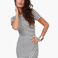 Asymetric Striped Dress