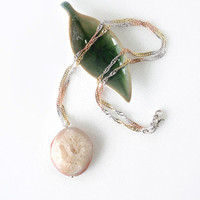 Quartz Agate Stone Necklace, Simple Agate Stone Pendant, Semi Precious Stone, Raw Agate Jewelry