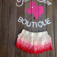 Shades of Pink Lace Crochet Shorts