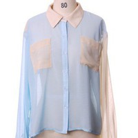 Patch Two Tones Chiffon Shirt by Chic+ - Chic+ - Retro, Indie and Unique Fashion